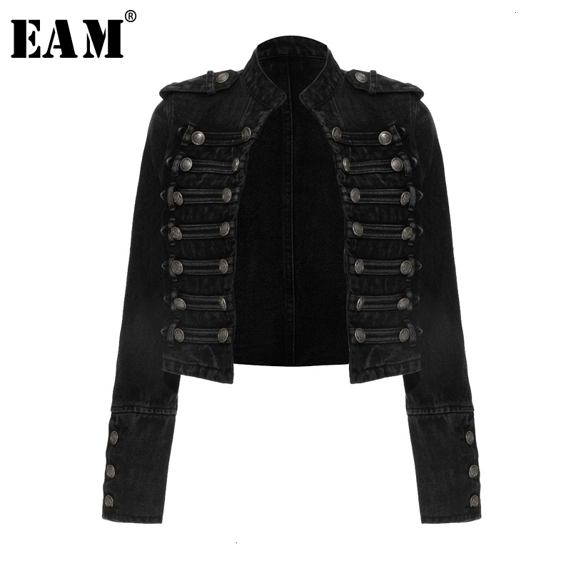 [EAM] Loose Fit Button Split Loose Short Denim Jacket New Stand Collar Long Sleeve Women Coat Fashion Spring Autumn 2020 1K916
