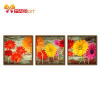 Kreuz stich kits Stickerei hand sets 11CT wasser löslich leinwand muster 14CT Blume malerei bunte sunflowers-NCMF020