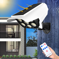 Luz Solar para exteriores, luz led Solar de 77LED con Sensor de movimiento, cámara simulada, lámpara Solar para seguridad de jardín