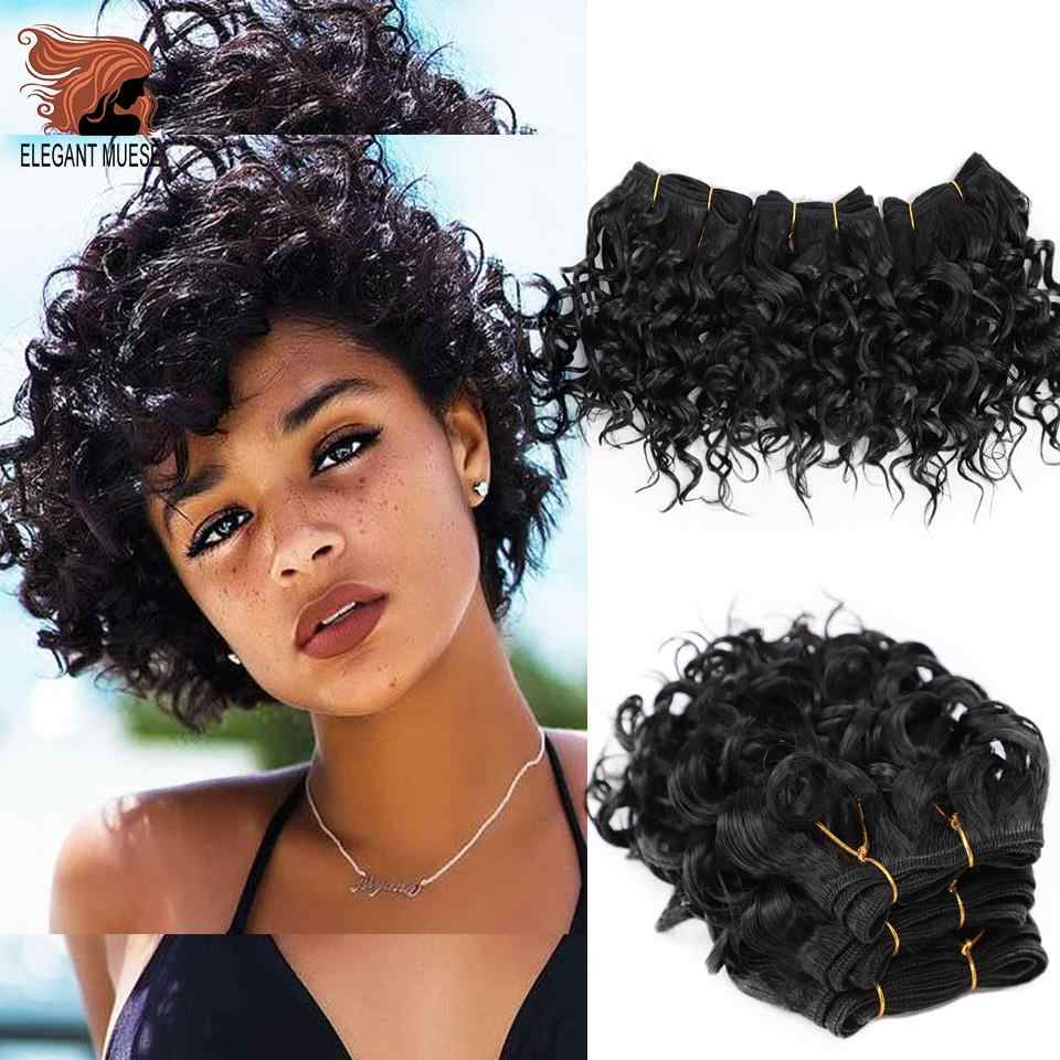ELEGANT MUSES Afro Kinky Curly Synthetic Weave Bouncy Jerry Curl Natural Short Hair Welf Bundles Black Hair Weaving 3Pcs/lot