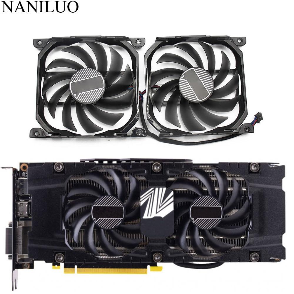 2pcs/set GTX1080TI 1080 X2 GPU VGA Card Cooler Fan For INNO3D  GEFORCE GTX 1080 GTX1080 TI X2 Graphics As ReplacementFans