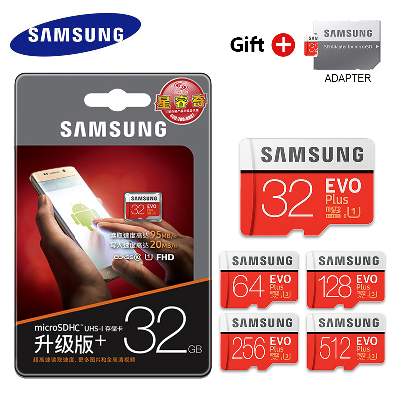 Original Samsung EVO 32GB 64GB 128GB SDHC mini Carte Memoire C10 64GB SDXC U3 Cartao SD safe for Smartphone Memory Flash drive-in Micro SD Cards from Computer & Office