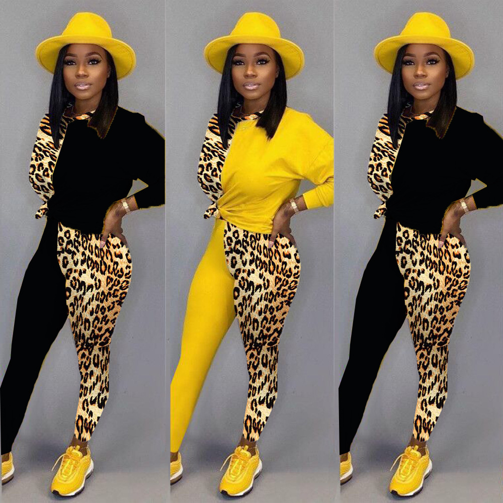 HAOYUAN Leopard Splice 2 Piece Set Women Tracksuit 2020 Festival Clothing Top Pants Sweat Suits Two Piece Outfits Matching Sets