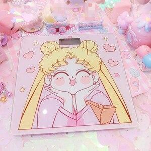 Image 1 - Cosplay Sailor Moon sakura figurka szkło hartowane śliczne elektroniczne cyfrowe waga podłogowa bilans wagi wyświetlacz LCD nowość