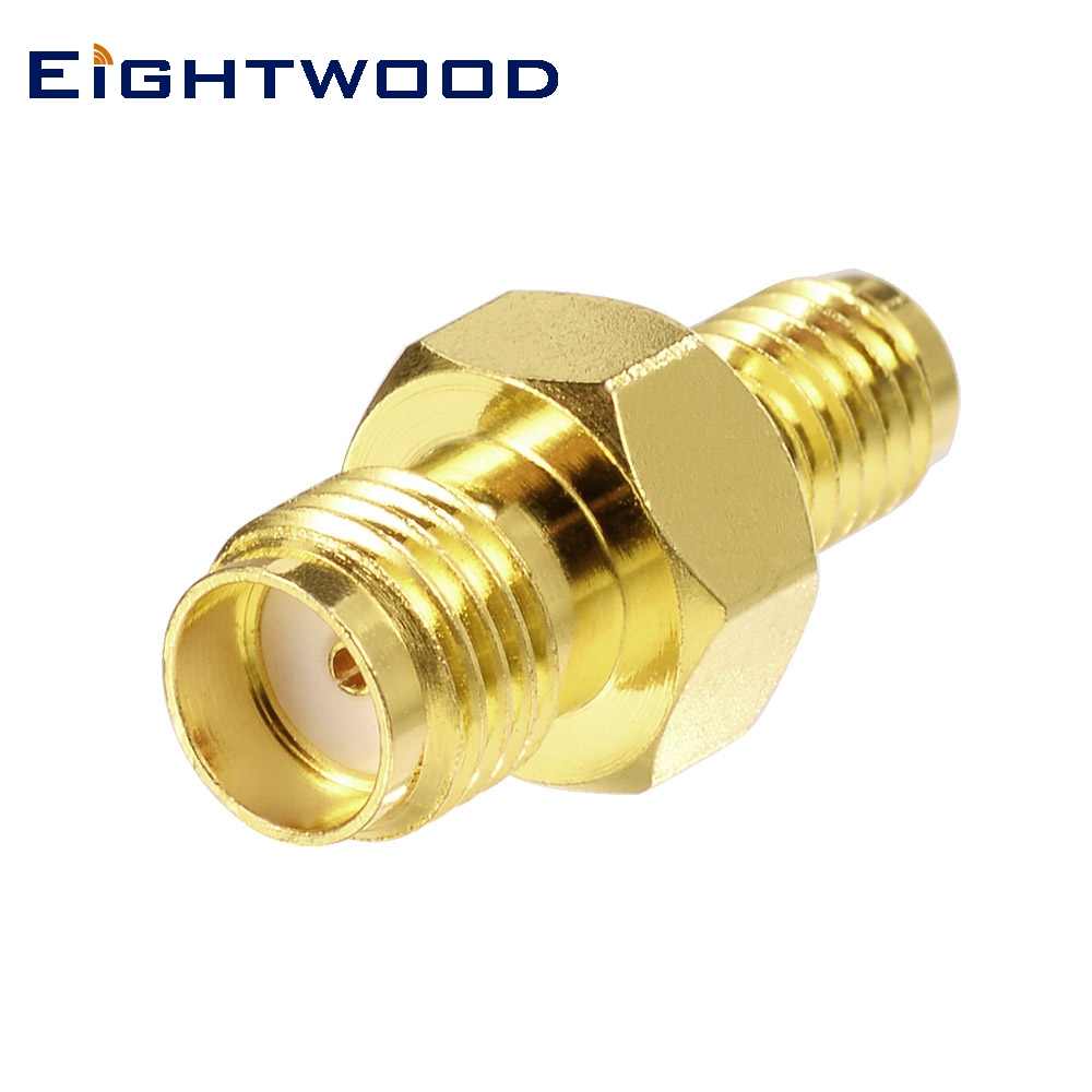 Eightwood <font><b>SMA</b></font> to SSMA RF Coaxial Adapter <font><b>SMA</b></font> Jack Female to SSMA Jack Female RF Coaxial Connector Gold Plated Brass <font><b>50</b></font> Ohm image