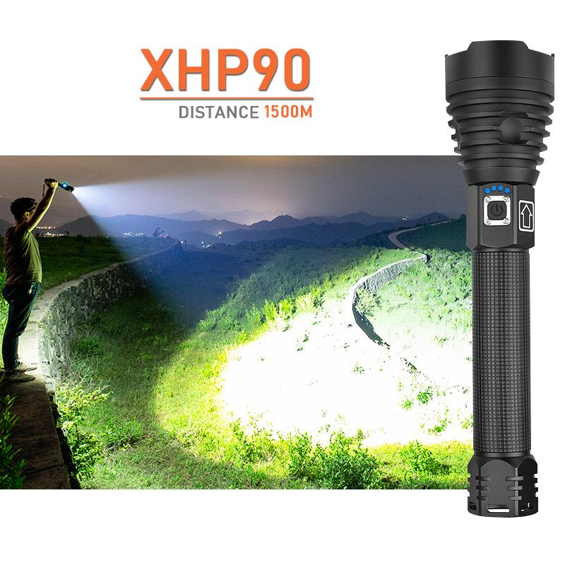 High Lumens Usb Flashlight Xhp90 Zoom Rechargable Flashlights Torches High Power Led Lantern Hand Lamp Light 26650 Or 18650