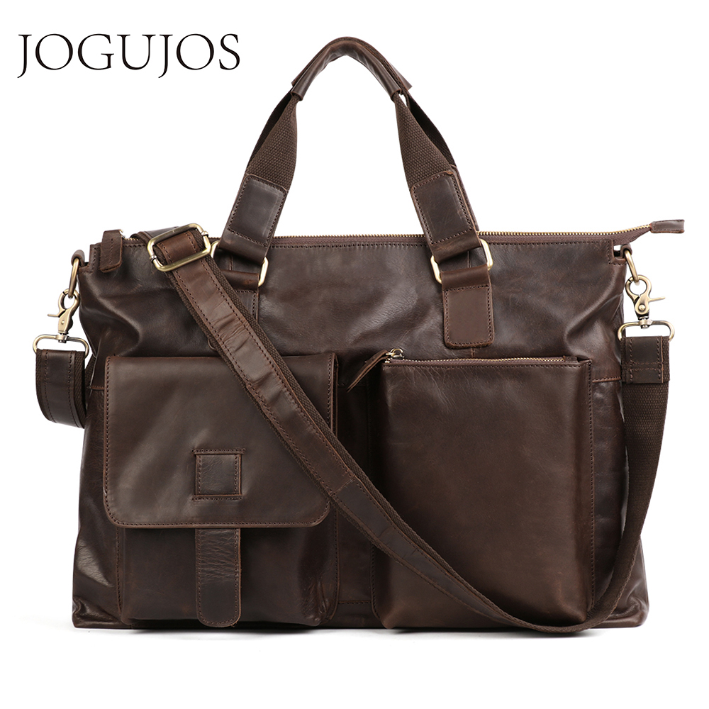 JOGUJOS Men's Business Briefcase Genuine Leather Large Briefcases Vintage Men Shoulder Messenger Bag Male Laptop Bags Handbags