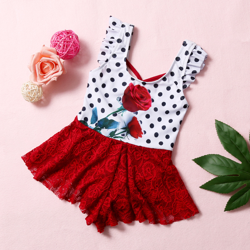 New Style KID'S Swimwear GIRL'S Dress-Swimwear South Korea Big Boy Cute Princess Swimming Suit