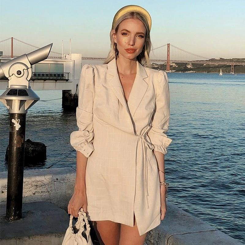Otoño Invierno chaqueta a cuadros Vestido Mujer moda encaje hasta mangas largas Mini vestido Oficina mujer Oficina vestido suelto - 2