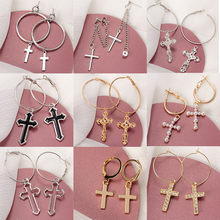 Fashion Cross Drop Statement Earrings For Women Vintage Metal Chain 2020 Trend Pendant Unusual Earings Party Punk Jewelry Gifts