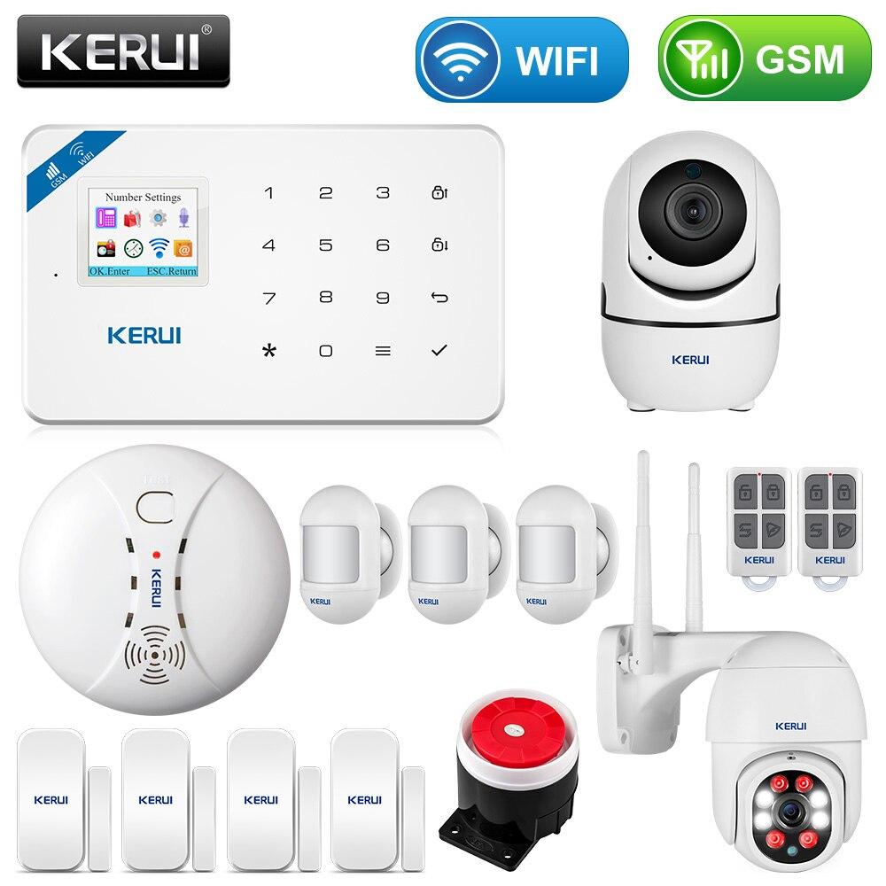 KERUI W18 1.7 Inch TFT Screen WIFI GSM Smart Home Burglar Security Alarm System Motion Detector APP Control Smoke Door Sensor