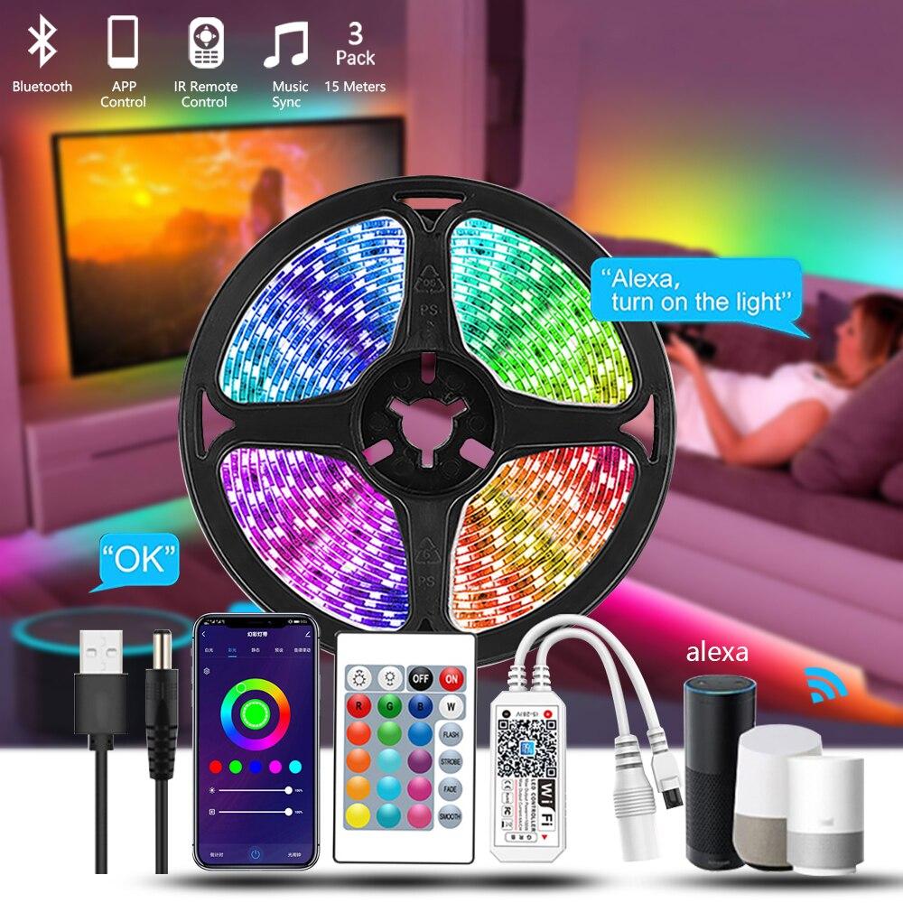5m 5050 цветная (Rgb) Светодиодная лента с 12v Водонепроницаемый Освещение в помещении Tiras Led Habitacion Luces De Led Para Decoracion музыкальный контроллер Wi-Fi
