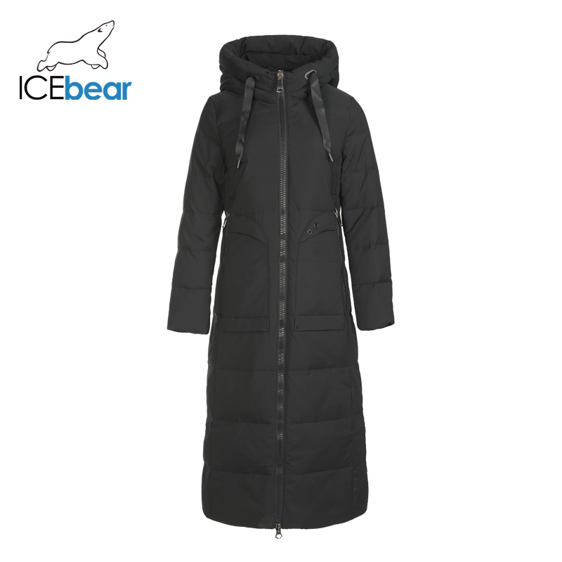 ICEbear 2019 New Winter Long Women's Down Jacket Fashion Warm Ladies Jacket Hooded Brand Ladies Clothing GN418275P