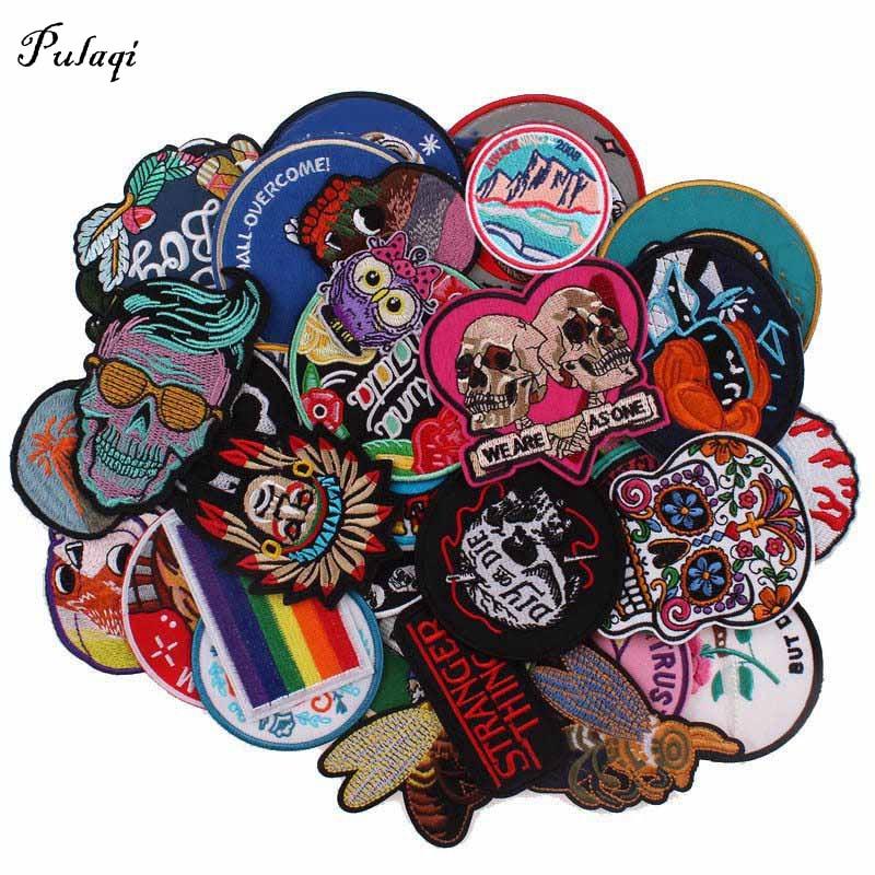 30/20 pièces/lot patchs de tissu à repasser mélangés Punk Rock Badges dessin animé patchs brodés pour vêtements autocollants veste bricolage Applique