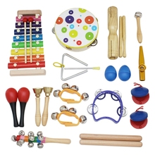 19Pcs Orff Musical Instruments Set Children Early Childhood Music Percussion Toy Combination Kindergarten Teaching Aids