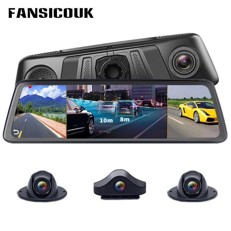 4G 4 Channel Quad-Core Dash Camera ADAS Android 5.1 2GB RAM 32GB ROM 1080P Car DVR Video Recorders Rearview Mirror Camera V9-4 image