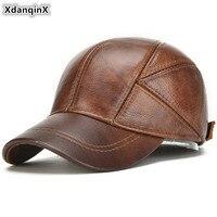 XdanqinX Cowhide Leather Hat Genuine Leather Cap Men's Warm Baseball Cap Men Fashion Brands Hats Adjustable Size Earmuffs Caps