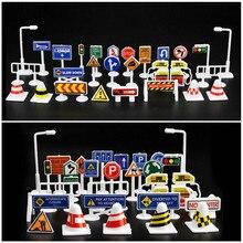 28 шт. игрушечных автомобилей Аксессуары Дорожные знаки дети играют узнать игрушка модель автомобиля игрушка для детей Коллекция подарков