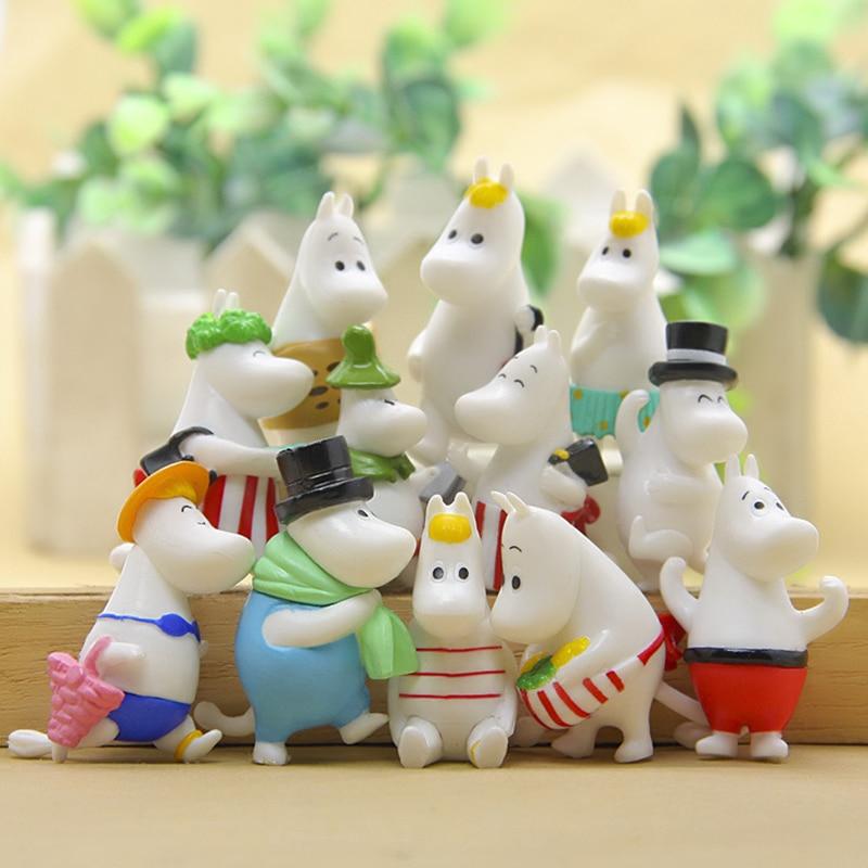 12 Pc Dollhouse Puzzle Cascade Hippopotamus Family Miniature Figures Jenga Micro Layer DIY Landscape PVC Model Creative Toy Gift-4