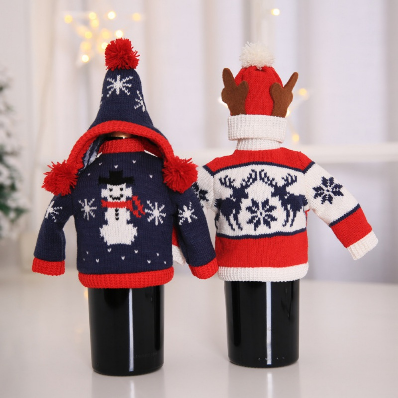 Hot Christmas Knitted Red Wine Bottle Set Party Decoration Red Wine Bottle Covers Clothes With Hats For Christmas Dinner Table
