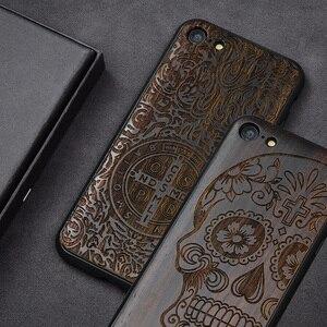 """Image 1 - Чехол для iPhone SE 2, черный деревянный чехол из черного эбенового дерева для iPhone SE 4,7 """", резной ТПУ бампер, деревянный чехол для iPhone se 2020"""