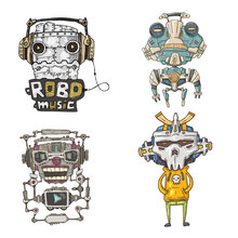 ZOTOONE Robot stickers for iron transfer clothes DIY accessory t-shirt dresses washable heat