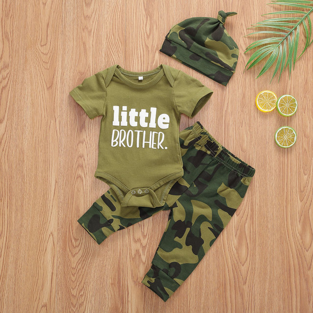 Pudcoco US Stock Infant Baby Boys Clothes Sets Brother Short Sleeve Romper Top+Pants Hats 3Pcs Boy Girl Summer Clothes Outfit 4