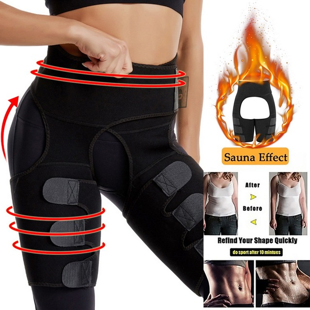 Women High Waist Thigh Trimmer Neoprene Sweat Shapewear Slimming Leg Body Shapers Adjustable Waist Trainer Slimming Belt Fitness