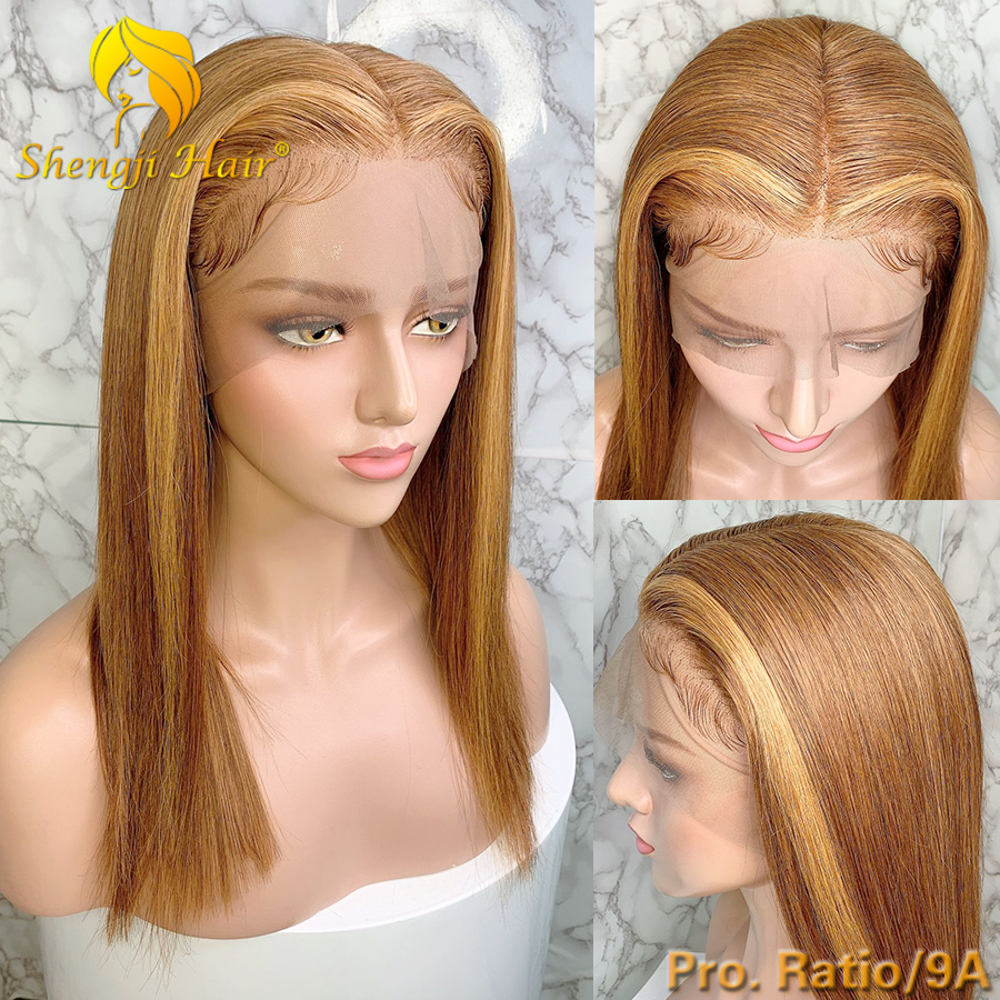 9A 13x6 Blonde Lace Front Wig With Highlights #27 Shengji Remy Hair Brazilian Straight Lace Front Human Hair Wigs With Baby Hair
