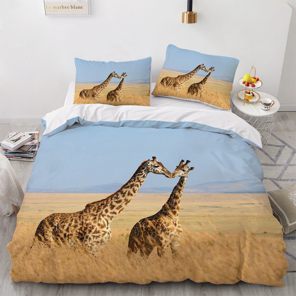 3D Bedding Sets Animal Duvet Quilt Cover Set Comforter Bed Linen Pillowcase King Queen Full 203x230cm Giraffe Home Texitle