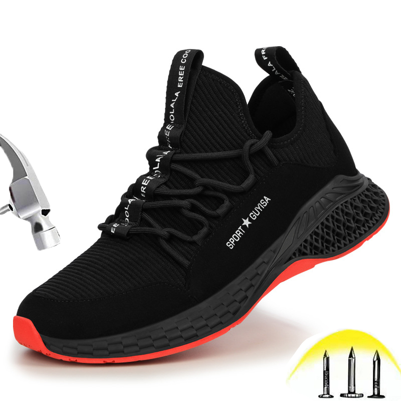 Safety Shoes Men Steel Toe Puncture Proof Breathable Summer Wear-resistant Non-slip Comfortable Outdoor Construction Work Shoes