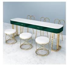 Net Red Marble Nail Table And Chair Set Single Double Gold Iron Double Manicure Table Simple Light Luxury