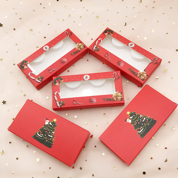 Empty Eyelashes Packaging Paper Lash Box Custom Private Label Christmas Lash Case Come with White Tray