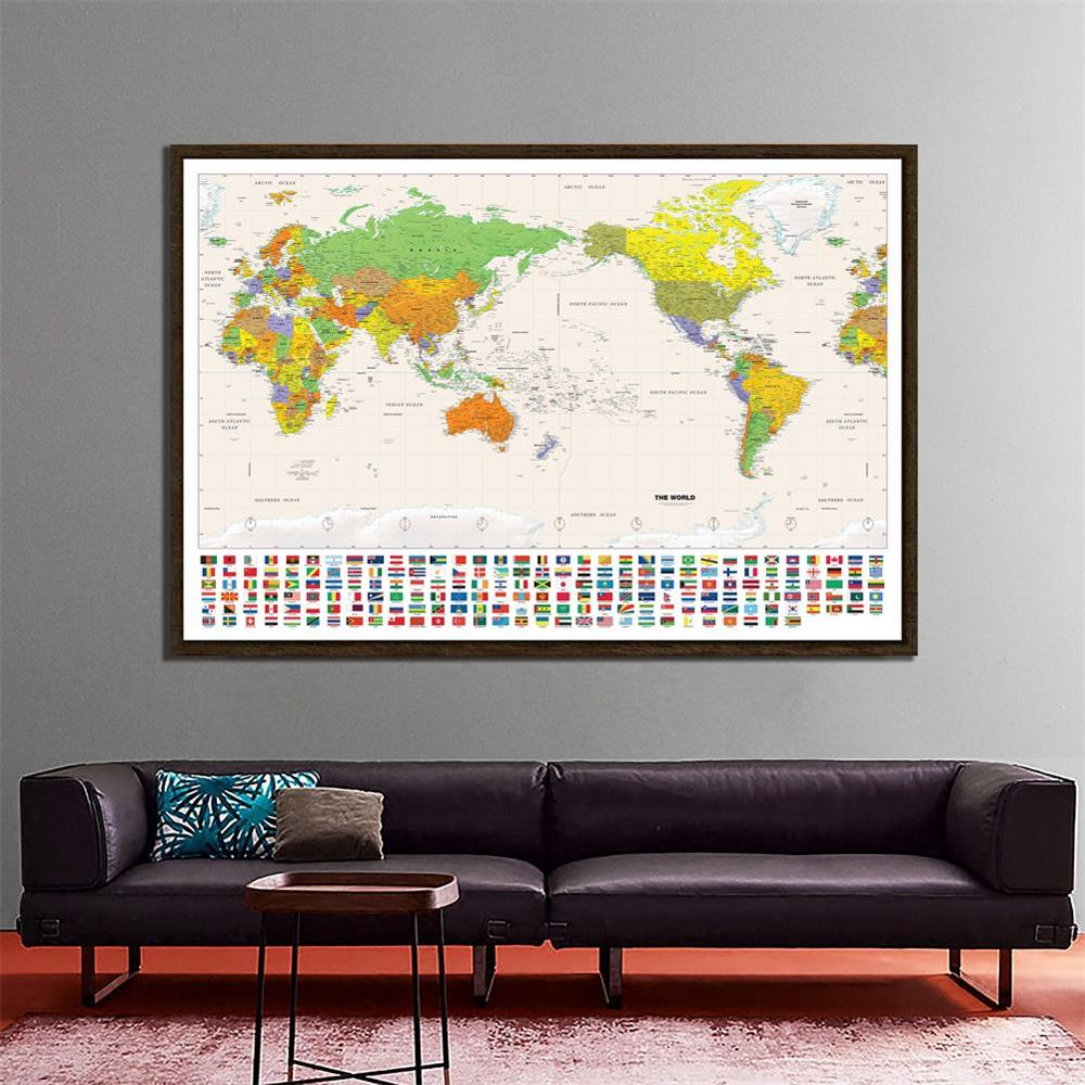 Physical Map Of The World With National Flag Non-woven Detailed Map Of Major Cities In Each Country