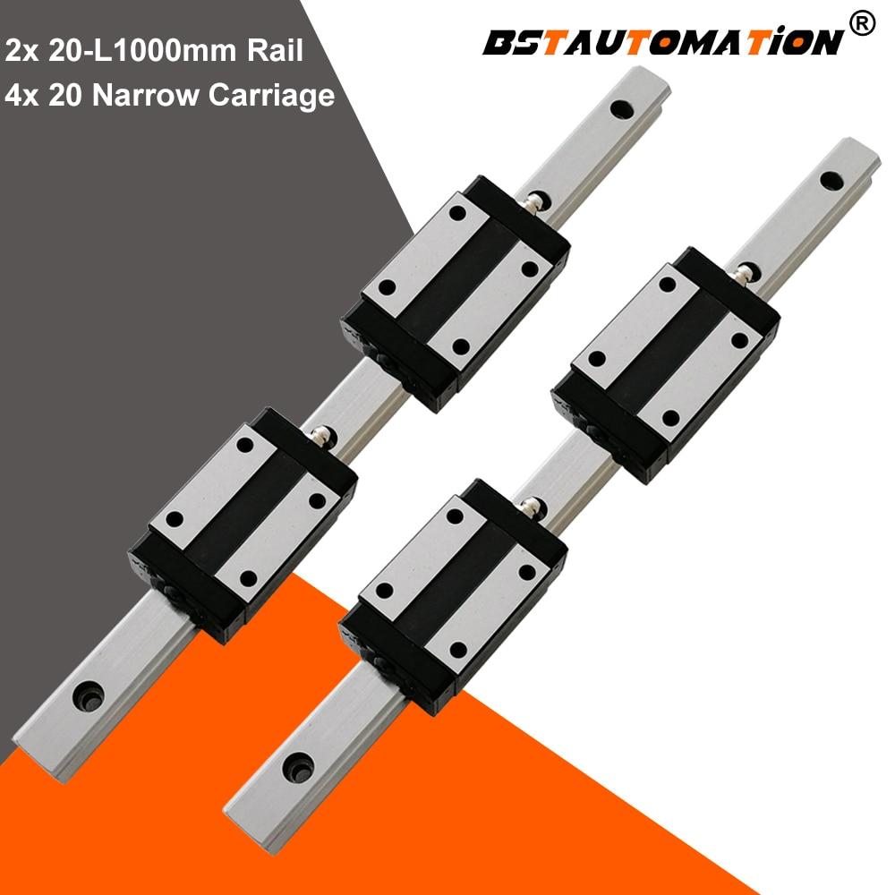 20mm Square Linear Guide BLH20 1000mm Linear Rail +4pcs BLH20N Narrow Linear Slide Block HGR20 HGH20CA HSR20 For CNC X Y Z Axis
