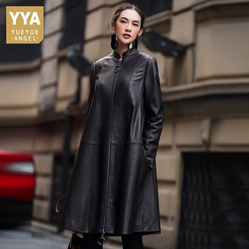 Fashion Long Sleeve Stand Collar Womens Sheepskin Medium Length Cloak Coats Genuine Leather Loose Big Size Female Trench Coats