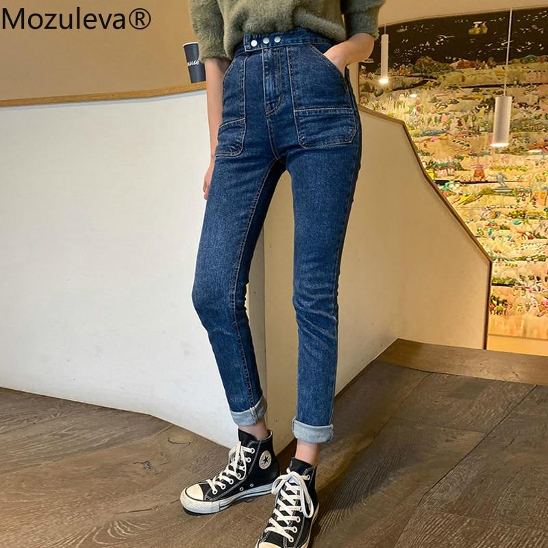 Mozuleva 2020 Stylish Denim Blue Jeans For Women High Waist Buttons Pockets Female Skinny Jeans Stretch Denim Pencil Pants Femme