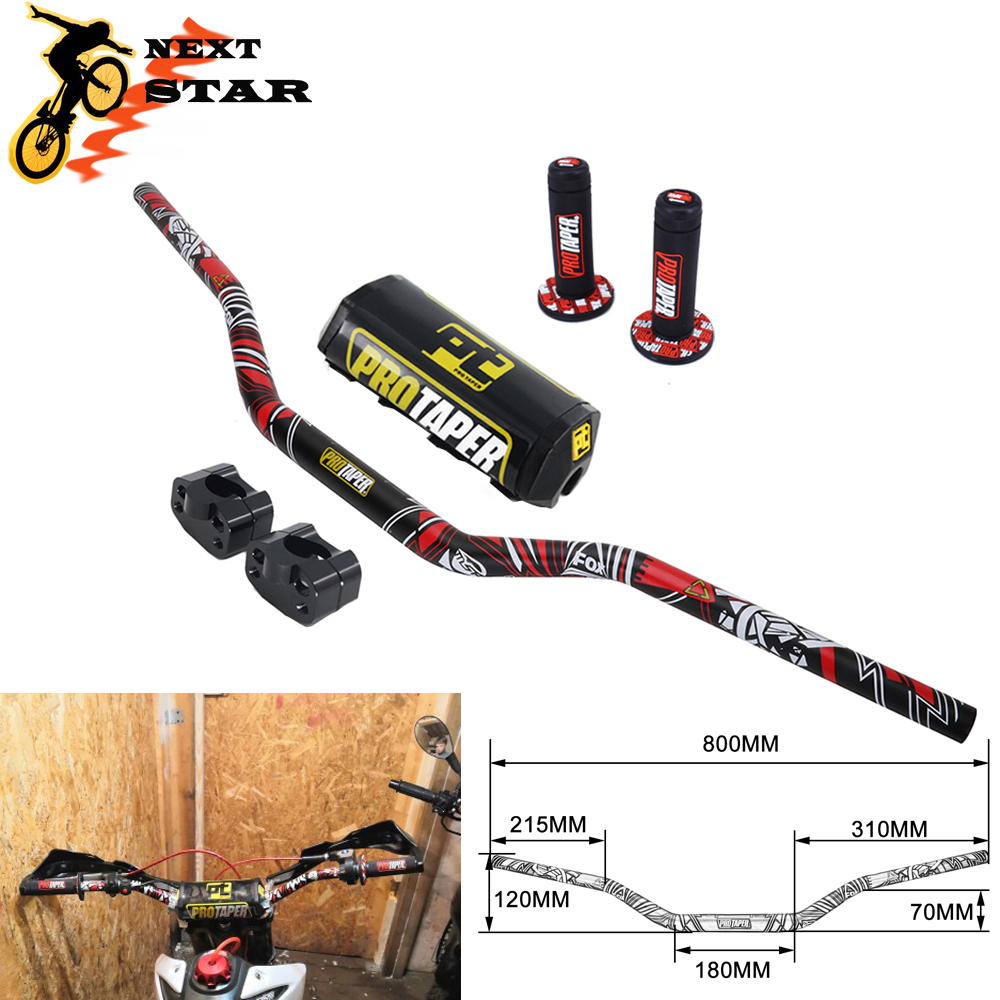 11/8'' Handle Bar 28mm Pro Taper Handlebar Grips Metal Mulisha Clamps Pad MX Motorcross For YAMAHA YZ125 YZF WR WRF TTR 250 450