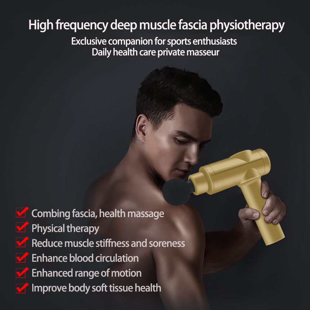 Wakeforyou LCD Display Body Massage Gun Exercising Muscle Electric Massager Gun head Massager for Neck and Back Vibrator Slim