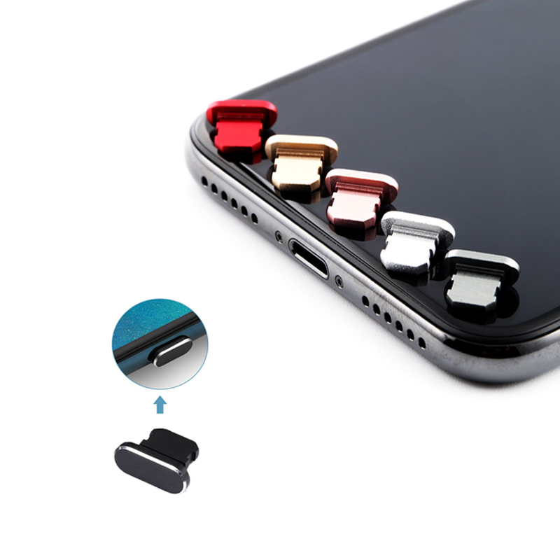 Dustproof Cover Aluminium Alloy Portable Metal Anti Dust Charger Dock Plug Stopper Cap Cover For IPhone 11 X XR Max 8 7 6S Plus