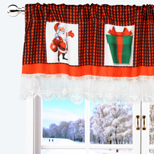 Christmas Lace Valances for Windows 71 x 14 Inch Plaid Window Valance with Elements Home Kitchen Decor