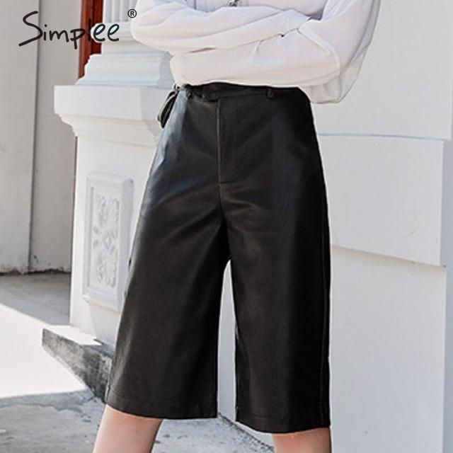 Simplee Pu leather pants women chic High waist motocycle female sexy half pants Autumn winter ladies party club wear bottom 2019