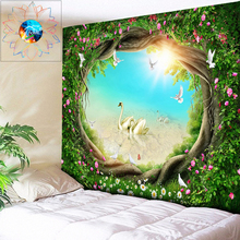 Boho Tapestry Flowers 3D Wall Tree Hole Beach Sun Psychedelic Decoration Hippie Mandala Hanging Bohemian Art