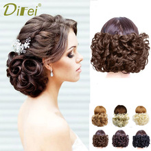 Net Bun-Extensions Hair-Hairpieces Synthetic-Hair Elastic Curly-Chignon Updo Clip-In