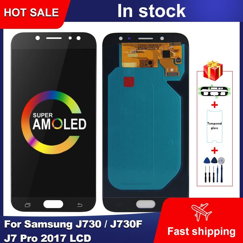 Super AMOLED LCD do Samsung Galaxy J730 J730F J7 Pro 2017 wyświetlacz LCD ekran dotykowy Digitizer zgromadzenie do Samsung J730 wyświetlacz