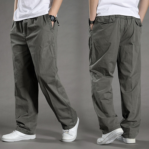 Men Solid Pants with Many Pockets Tactical Cargo Pants Dark Grey Combat Pants Straight Trousers Summer Safari Style Men Clothing