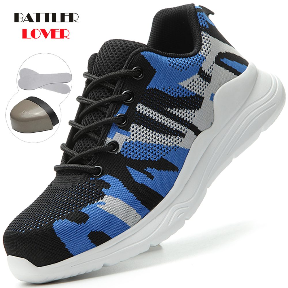 2020 New Lightweight Breathable Men Safety Shoes Steel Toe Work Shoes For Men Anti-smashing Construction Sneaker With Reflective