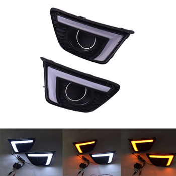 car flashing led drl for kia optima k5 2013 2014 2015 fog lamp cover daytime running lights with turn yellow signal 2Pcs Auto DRL 12V LED Daytime Running Light Turn Signal Day Light Fog Lamp Waterproof For Honda Jazz Fit 2014 2015 2016 2017