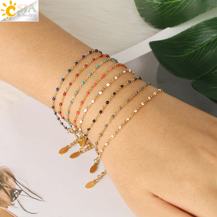 CSJA Stainless Steel Chain Bracelets Bangles for Woman Gold Color Link Miyuki Femme Beads Bracelet 2020 Jewelry Pulseira S570
