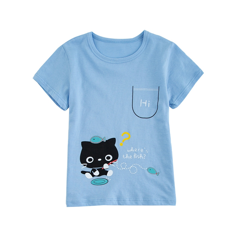 Kids Baby Boy Girl Short Sleeve Cartoon Print T-Shirts Tops